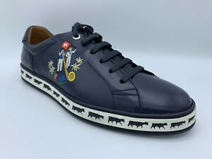 $600 Bally Animals Navy Blue Leather Sneakers size US 13 Made in Switzerland