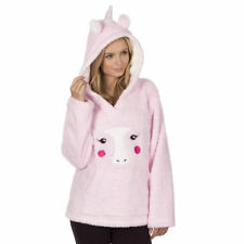 Ladies Novelty Hooded Animal Snuggle Fleece UNICORN Lounge Pyjama Top Jumper