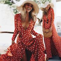 Women Boho V Neck Long Maxi Dress Polka Dot Summer Party Evening Beach Sundress