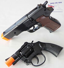 Toy Guns Military Detective Black 9MM Pistol Snub-nosed Revolver 2x Cap Gun Set