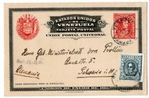 VENEZUELA Tarjeta Postal 10 C José de Sucre + MiNr 89 I  CARACAS - SCHWERIN;1911