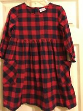 Hanna Andersson Red and Navy Plaid Dress Girls Size 130 or 8