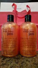 NEW 16 OZ x2  Philosophy Sweet Orange Honey Jam Shampoo Shower Gel GIFT SET BAG