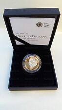 2012 £ 2 ARGENTO PROOF Charles Dickens due Pound Coin Rare