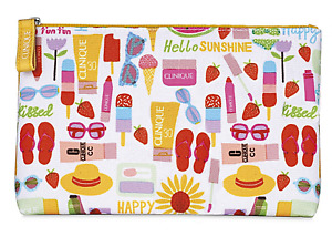 New Clinique Cosmetic Makeup bag for Women Adorable Roomy Summer Hello Sunshine