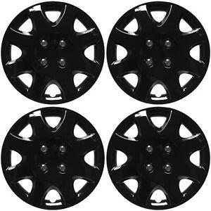 "4 Pc Set of 14"" ICE (SHINY) BLACK Hub Caps Cover for OEM Steel Wheel Covers Cap"