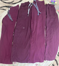Lot Of 4 Burgundy Color Medical Scrub Pants Size Xs