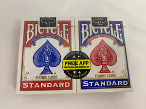 2 Deck Bicycle Standard Size/Face Playing Cards Blue/Red USA (Sealed)