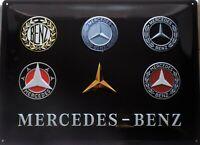 PLAQUE METAL vintage MERCEDES-BENZ logo     40 x 30 cm