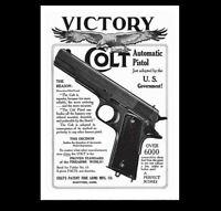 8x10Vintage 1911 Colt 45 Pistol PHOTO Advertisement Poster Military War Army Gun