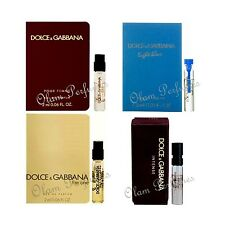 Set 4 Dolce Gabbana Women Vial Samples Pour Femme, Intense, Light Blue, The One