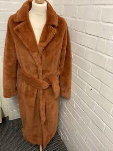 2nd Chapter Light Brown Faux Fur Long Coat Size 10