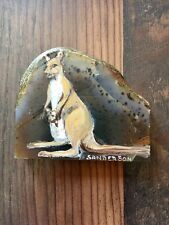 "Collectible 3""x2.5"" HAND PAINTED KANGAROO brown MINERAL ROCK by Cathy Sanderson"