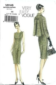 Vogue Sewing Pattern 8146, EASY Dress & Pleat Back Jacket, Size 14 16 18 20 NEW