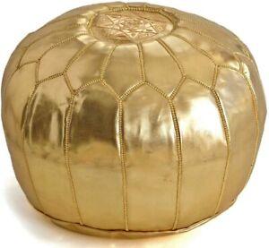 Handmade Faux leather Moroccan gold pouffe - unstuffed