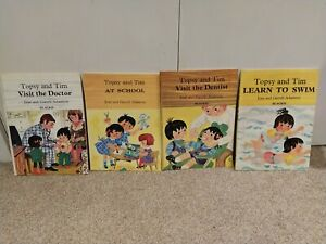 4 x Vintage Topsy and Tim Books: At School, Visit the Doctor/Dentist, Learn Swim