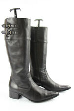 Johann Boots Tips Sharp / Pointed Black Leather T 38 Very Good Condition