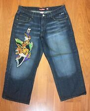 Ed Hardy Jeans Men's 44 Short Dark Stonewashed Tiger Tattoo Embroided Patch