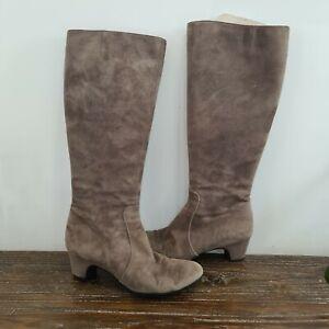PAS DE ROUGE women's size 38.5 Italian designer suede low heel knee high boots