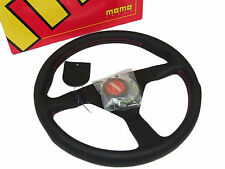 MOMO Steering Wheel - Monte Carlo (350mm/Leather/Red Stitch & Horn/Black Spoke)