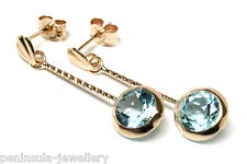 9ct Gold Blue Topaz long drop Earrings Gift Boxed Made in UK