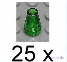LEGO - 25 x Kegel / Kegelstein transparent grün 1x1 / 4589 NEUWARE