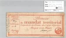 MANDAT TERRITORIAL - 100 FRANCS (AVEC LE N° DE SERIE) 28 VENTOSE AN 4 DAIGNIER