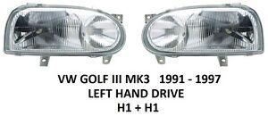 VW GOLF 3 MK3 III PAIR HEADLAMPS HEAD LAMP HEADLIGHTS H1 1991-1997 LEFT & RIGHT
