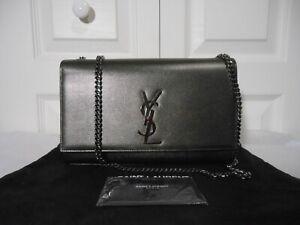 NWT Saint Laurent YSL Kate Med Antique Calfskin Leather Crossbody Bag,Dark Gray