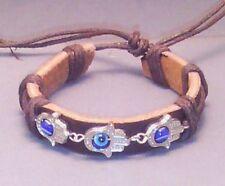 HAMSA Evil ALL-SEEING EYE Bracelet BUDDHA Leather Cuff Silver Tone BLACK Gift!!