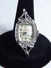 ELGIN STARLITE WOMEN Watch 14Kt WHITE GOLD & DIAMONDS 17 Jewels U.S.A. MADE 5 GM