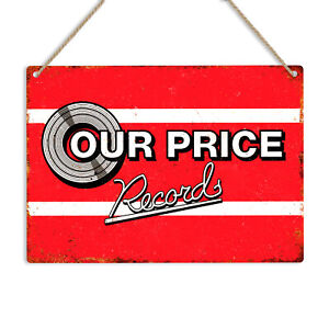 OUR PRICE RECORDS Vintage Metal Tin Wall Sign Plaque Man Cave Shed Retro Vinyl