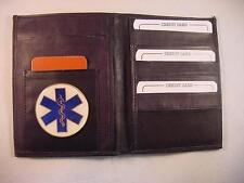 EMS EMT CNA PARAMEDIC LOGO BLACK LEATHER BIFOLD PASSPORT WALLET CARD HOLDER