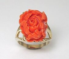 Ladies 14k yellow gold pink coral flower carving ring