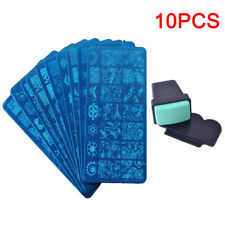 10PCS Large Nail Art Stamping Plate Set with Tool Stamper Design Art Stamp Kit