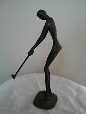 "Vintage 9"" Abstract Bronze Sculpture Figurine, Lady Golfer Playing Golf"