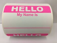 50 Labels PINK Hello My Name Is Name Tag Identification Stickers