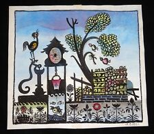 1960 Chinese Mixed Media Painting Whimsical Garden by Hon Chew Hee (Hee)