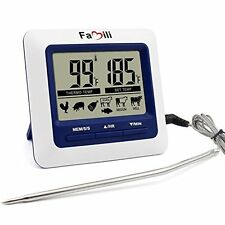 Famili BBQ Grill Smoker Meat Thermometer With Steel Probe, Temperature Alert for