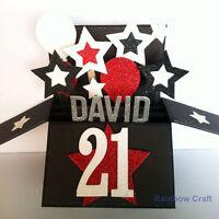 Handmade Name & Age Personalized birthday card, 21st birthday card for boyfriend