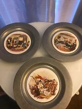 Set 3 Pilkington England Round Tiles Cased In Metal Plate Frame America Theme