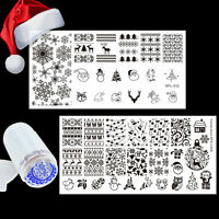 Christmas Snowflake  Nail Art Stamping Plates Kit Jelly Stamper Scraper
