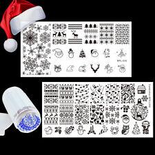 Christmas Snowflake Snowman Nail Art Stamp Plates Kit Jelly Stamper Scraper DIY