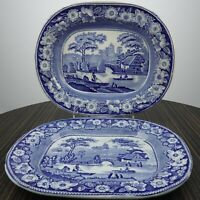 Antique c1840 Wild Rose Staffordshire Blue Transferware Graduated Platters