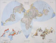 1958 LARGE MAP VULCANOLOGY TERRESTRIAL RELIEF SEISMOLOGY STRUCTURAL GEOLOGY