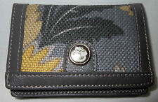 SPARTINA 449 BUSINESS CARD CASE SILVER DEW GRAY GOLD IVORY LINEN AND LEATHER NWT