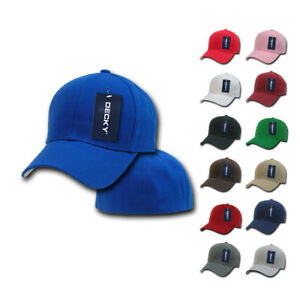 DECKY Classic Plain Fitted Pre Curved Bill 6 Panel Baseball Hats Caps