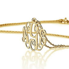 """Tiny Monogram Necklace 18k Gold Plated - Tiny Initial Name Necklace 0.6"""""""