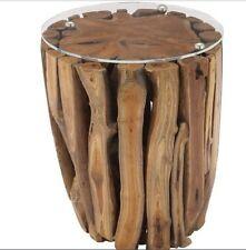 Teak Wood Accent Table Furniture Rustic End Side Coastal Decor Glass Top Logs