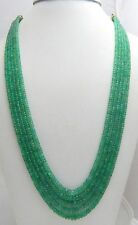 "Ebay Beautiful 5 Strand 100% Natural Precious Emerald Faceted Beads 16"" Necklace"